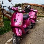 My roommate and I were so excited when we saw these matching pink Vespas!