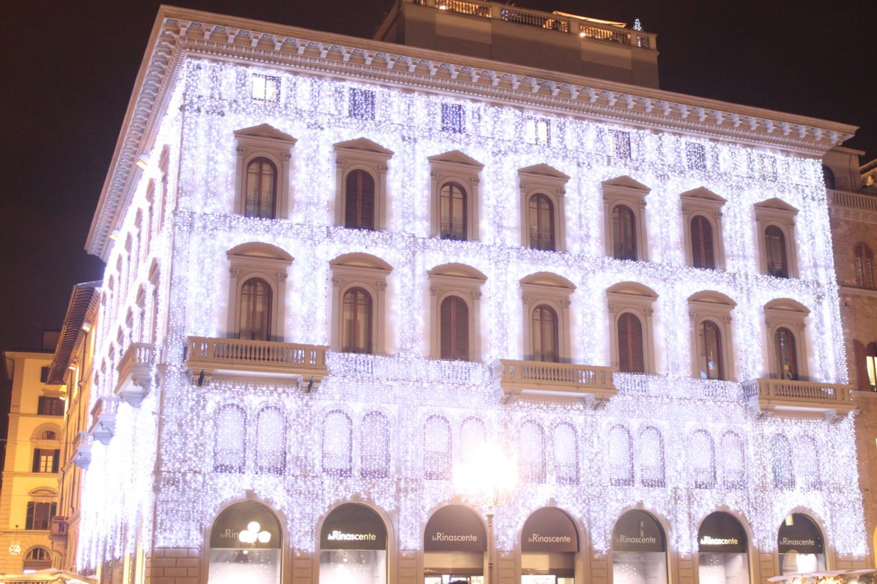 Christmas lights. Piazza Repubblica. Florence, Italy.