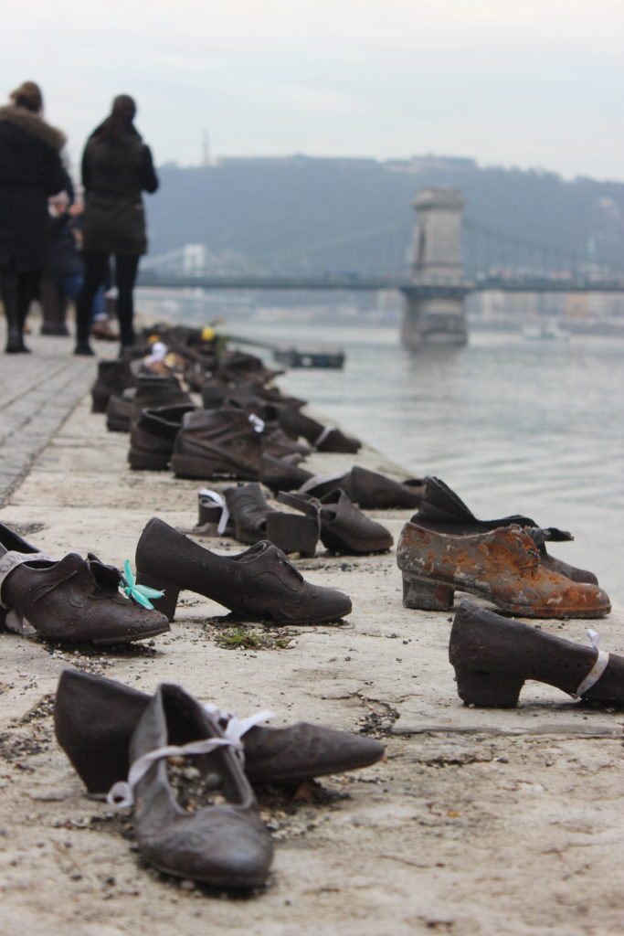 Shoes on the Danube River. Budapest, Hungary.